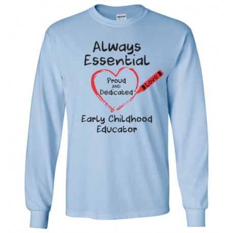 Crayon Heart Big Black Font Early Childhood Educator Long-Sleeved Shirt