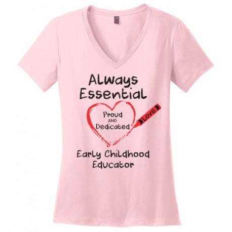 Crayon Heart Big Black Font Early Childhood Educator Women's V-Neck T-Shirt