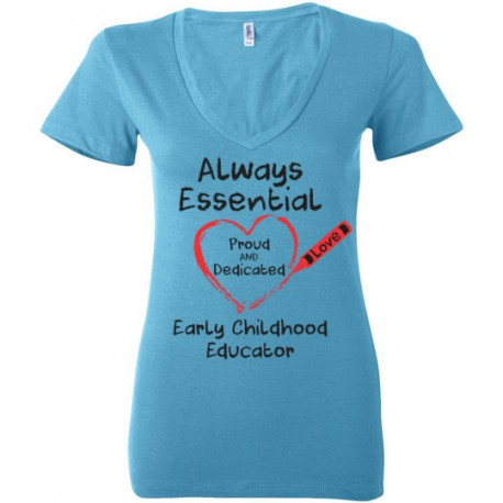 Crayon Heart Big Black Font Early Childhood Educator Women's Deep V-Neck T-Shirt