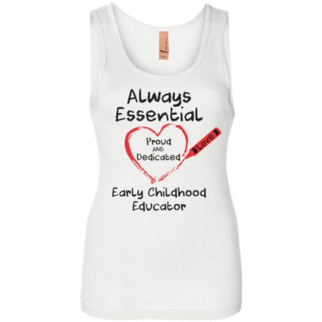 Crayon Heart Big Black Font Early Childhood Educator Women's Tank