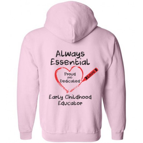 *Logo On Back* Crayon Heart Big Black Font Early Childhood Educator Zip-Up Hoodie