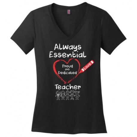 Crayon Heart with Kids Big White Font Teacher Women's V-Neck T-Shirt