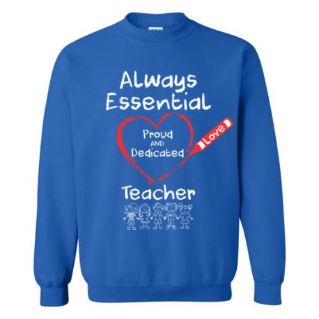 Crayon Heart with Kids Big White Font Teacher Sweatshirt