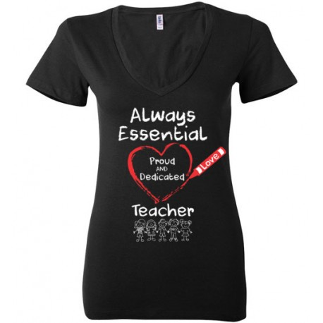 Crayon Heart with Kids Big White Font Teacher Women's Deep V-Neck T-Shirt