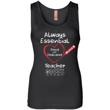 Crayon Heart with Kids Big White Font Teacher Women's Tank