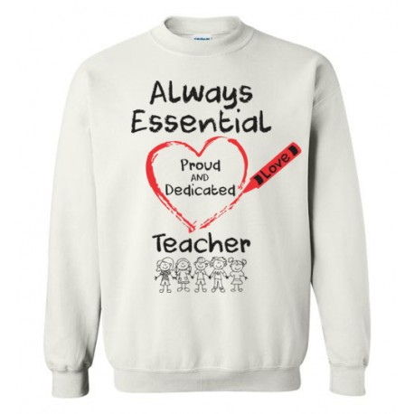 Crayon Heart with Kids Big Black Font Teacher Sweatshirt