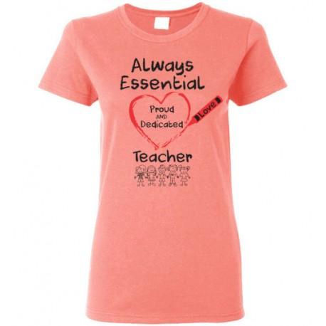 Crayon Heart with Kids Big Black Font Teacher Women's T-Shirt