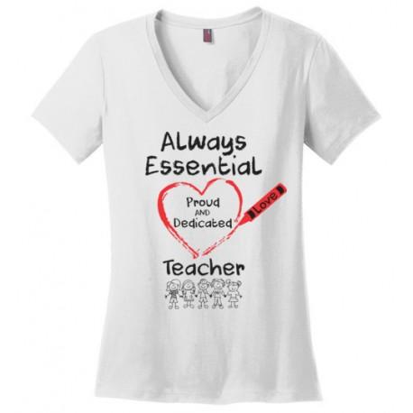 Crayon Heart with Kids Big Black Font Teacher Women's V-Neck T-Shirt