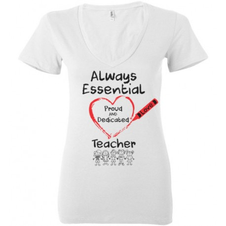 Crayon Heart with Kids Big Black Font Teacher Women's Deep V-Neck T-Shirt