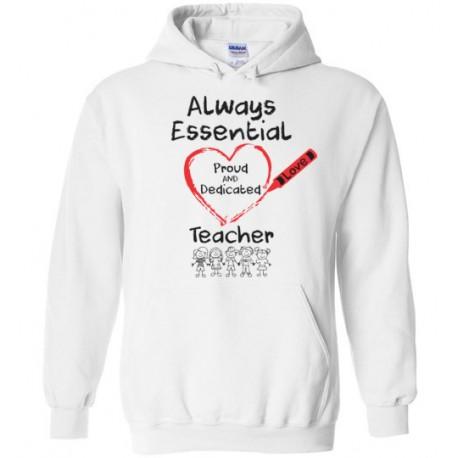 Crayon Heart with Kids Big Black Font Teacher Hoodie