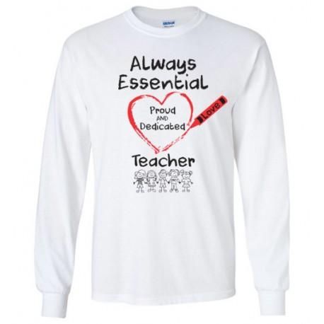 Crayon Heart with Kids Big Black Font Teacher Long-Sleeved Shirt
