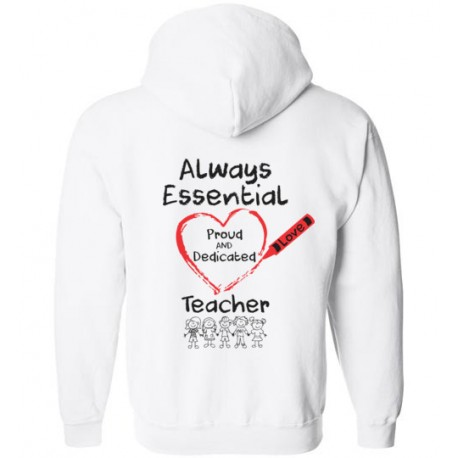 *Logo on Back* Crayon Heart with Kids Big Black Font Teacher Zip-Up Hoodie