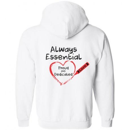 *Customizable* *Logo on Back*Crayon Heart Big Black Font Zip-Up Hoodie