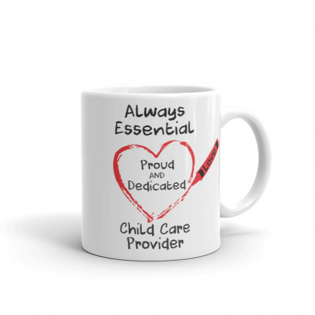 Crayon Heart Big Black Font Child Care Provider white mug