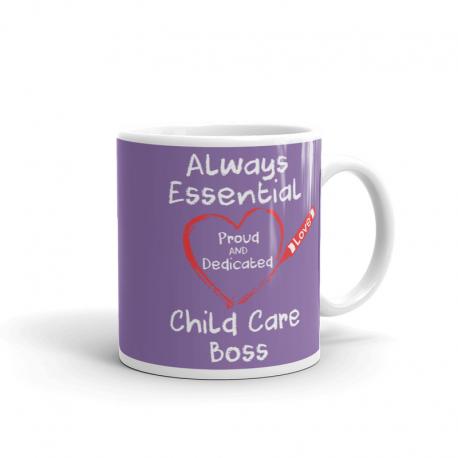 Crayon Heart Big White Font Child Care Boss Light Purple Mug