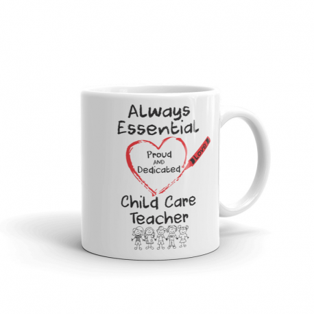 Crayon Heart with Kids Big Black Font Child Care Teacher White Mug