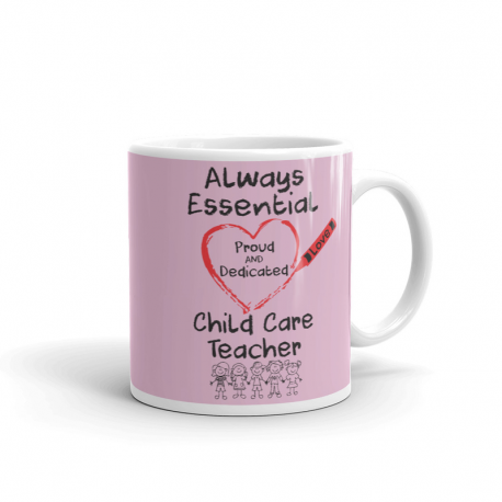 Crayon Heart with Kids Big Black Font Child Care Teacher Light Pink Mug