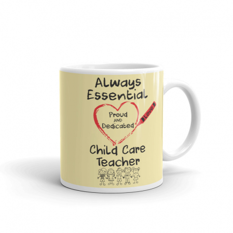 Crayon Heart with Kids Big Black Font Child Care Teacher Light Yellow Mug