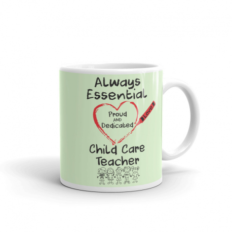 Crayon Heart with Kids Big Black Font Child Care Teacher Light Mint Green Mug