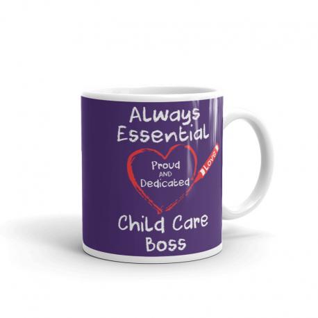 Crayon Heart Big White Font Child Care Boss Purple Mug