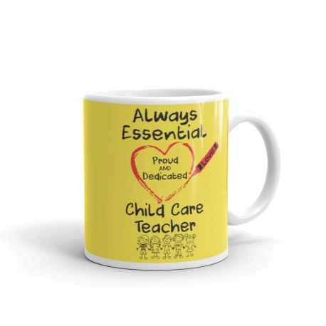 Crayon Heart with Kids Big Black Font Child Care Teacher Yellow Mug