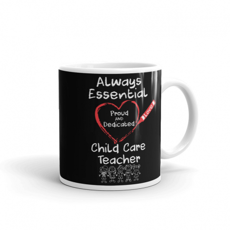 Crayon Heart with Kids Big White Font Child Care Teacher Black Mug