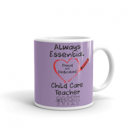 Crayon Heart with Kids Big Black Font Child Care Teacher Light Purple Mug