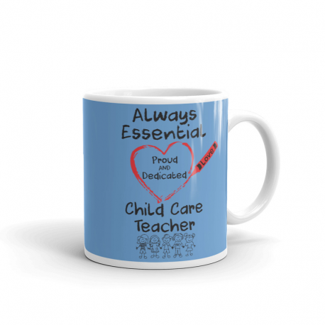 Crayon Heart with Kids Big Black Font Child Care Teacher Light Blue Mug