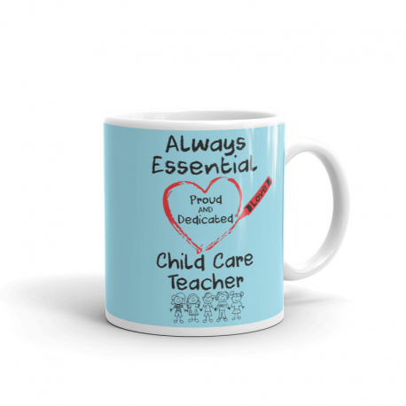Crayon Heart with Kids Big Black Font Child Care Teacher Light Robin-egg Blue Mug
