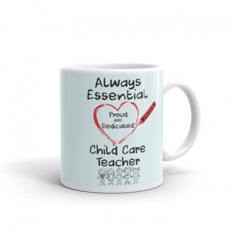 Crayon Heart with Kids Big Black Font Child Care Teacher Very Light Green