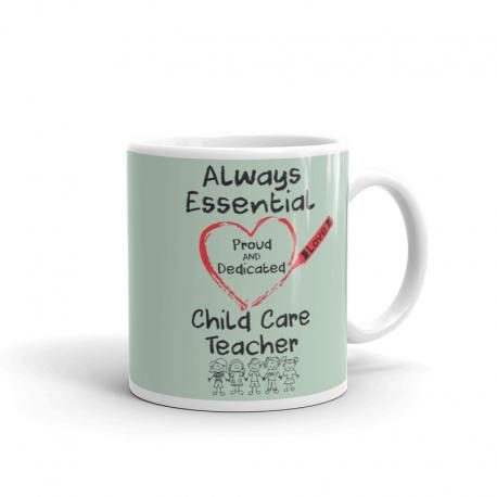 Crayon Heart with Kids Big Black Font Child Care Teacher Light Green