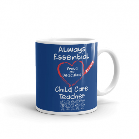 Crayon Heart with Kids Big White Font Child Care Teacher Blue Mug