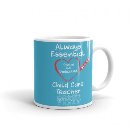 Crayon Heart with Kids Big White Font Child Care Teacher Light Blue Mug