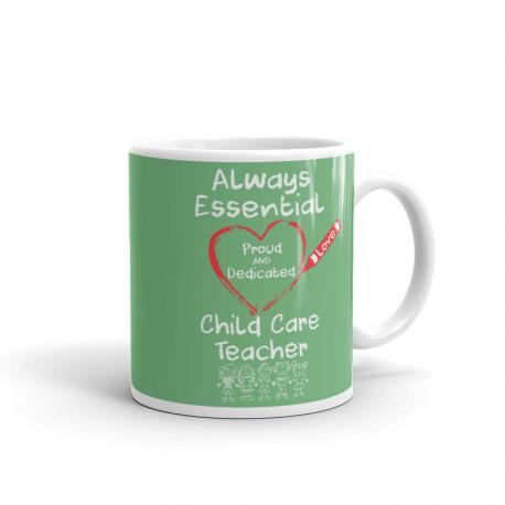 Crayon Heart with Kids Big White Font Child Care Teacher Fern Green Mug