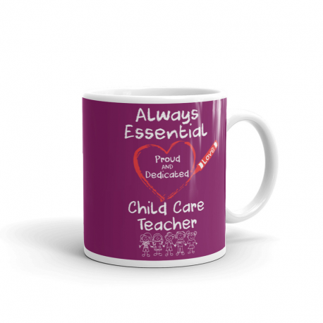 Crayon Heart with Kids Big White Font Child Care Teacher Magenta Mug