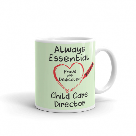 Crayon Heart Big Black Font Child Care Director Pistachio Green Mug
