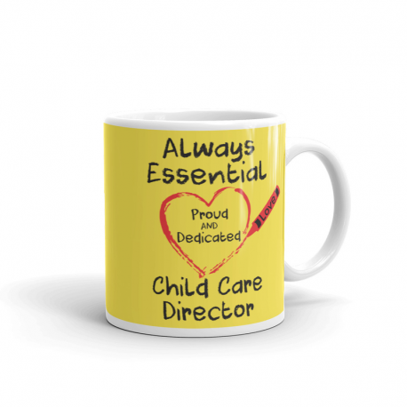 Crayon Heart Big Black Font Child Care Director Bright Yellow Mug
