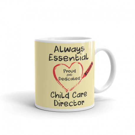 Crayon Heart Big Black Font Child Care Director Light Yellow Mug