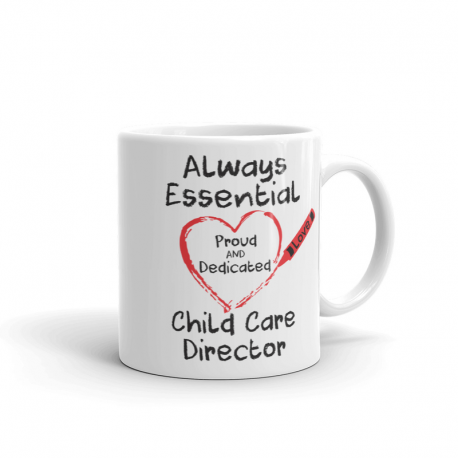 Crayon Heart Big Black Font Child Care Director White Mug