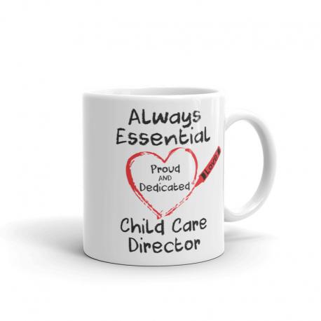 Crayon Heart Big Black Font Child Care Director White Mug