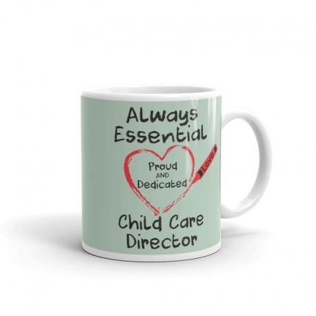 Crayon Heart Big Black Font Child Care Director Light Green