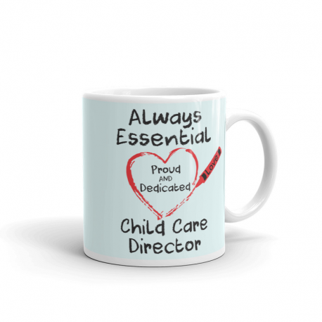 Crayon Heart Big Black Font Child Care Director Very Light Green
