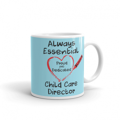 Crayon Heart Big Black Font Child Care Director Light Robin-egg Blue Mug