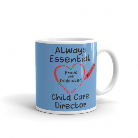 Crayon Heart Big Black Font Child Care Director Light Blue Mug