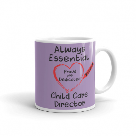 Crayon Heart Big Black Font Child Care Director Light Purple Mug