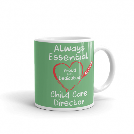 Crayon Heart Big White Font Child Care Director Pistachio Green Mug