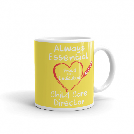 Crayon Heart Big White Font Child Care Director Bright Yellow Mug