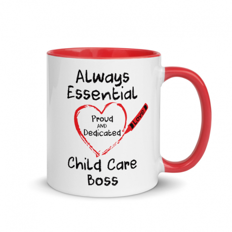 Crayon Heart with Big Black Font Child Care Boss Mug with Color Inside