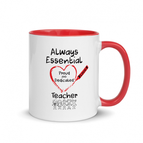 Crayon Heart Big Black Font with Kids Teacher Mug With Color Inside