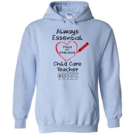 Crayon Heart with Kids Big Black Font Child Care Teacher Hoodie